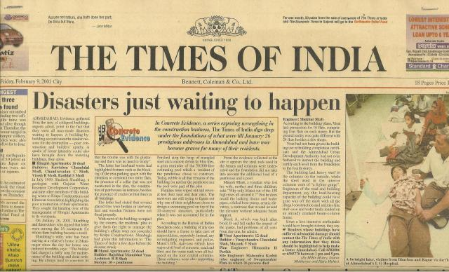 Doug Copp, Front Page Times of India (circulation 10 million per day.)