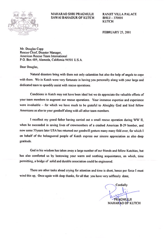 Tha Maharakah wrote a letter to Doug Copp, thanking him.